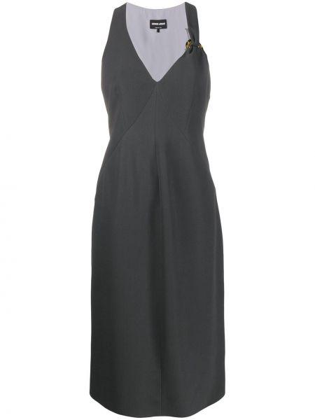 Платье миди с V-образным вырезом шелковое Giorgio Armani