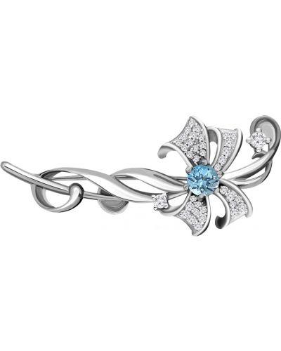 Серебряная брошь с камнями бирюзовый Aquamarine