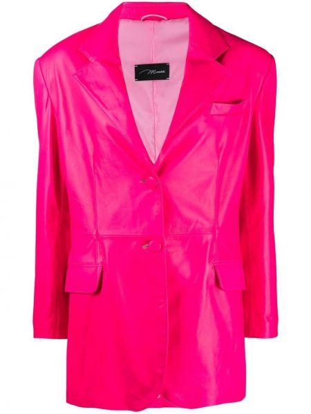 Розовый кожаный удлиненный пиджак с карманами Manokhi