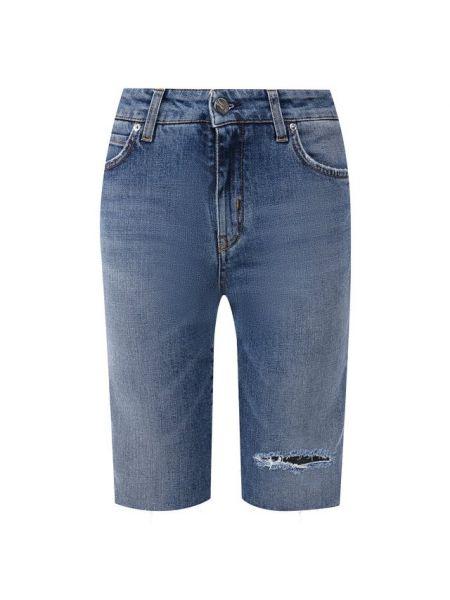 Хлопковые синие джинсовые шорты со стразами Two Women In The World