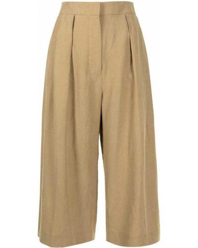 Хлопковые прямые коричневые укороченные брюки Altuzarra