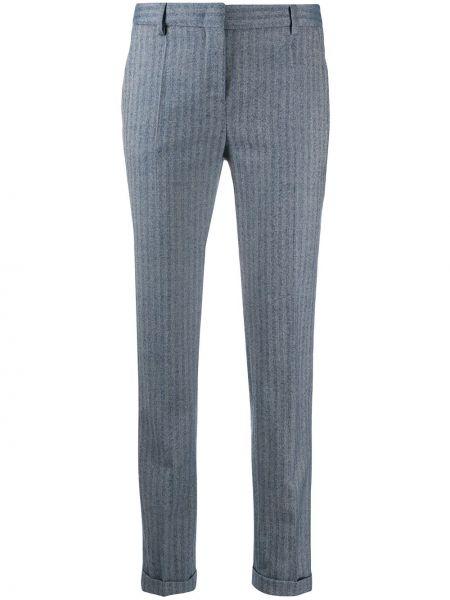 Шерстяные синие укороченные брюки в полоску Incotex