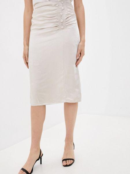 Бежевая прямая юбка карандаш B.style