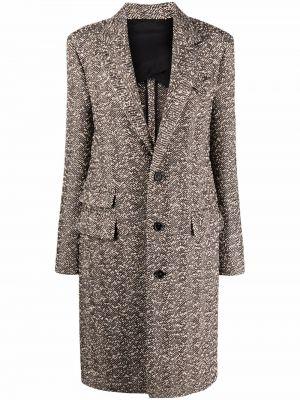 Коричневое длинное пальто Bottega Veneta