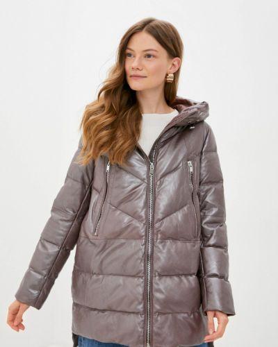 Теплая коричневая зимняя куртка снежная королева
