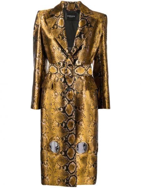 Прямое желтое пальто на пуговицах Versace