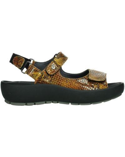 Żółte sandały skorzane vintage Wolky