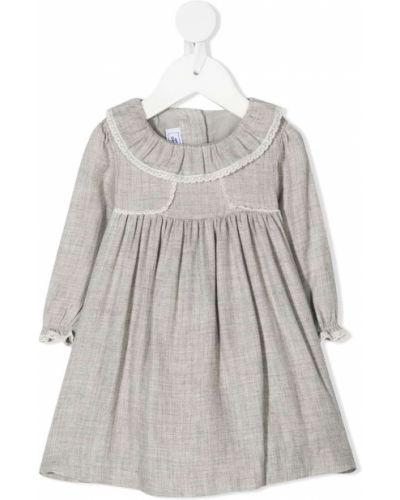Серое ажурное платье макси с длинными рукавами с воротником Tartine Et Chocolat