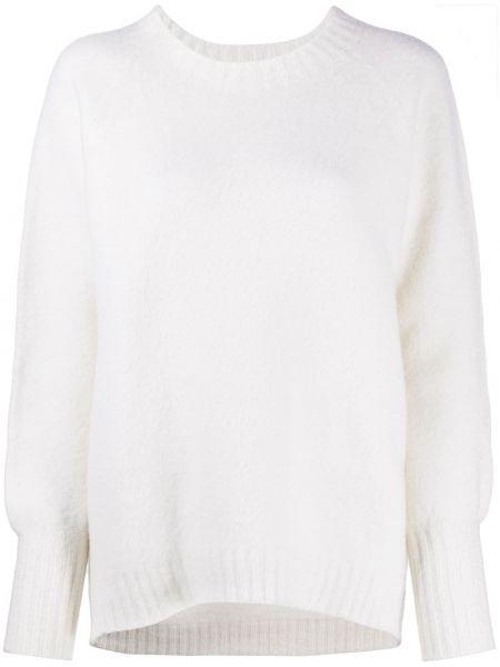 Вязаный белый свитер с рукавом реглан в рубчик Drumohr