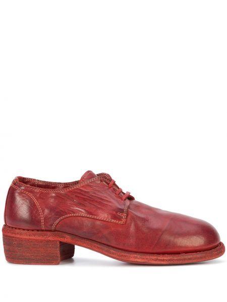 Туфли на каблуке красные на шнуровке Guidi