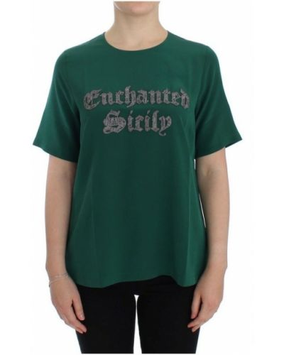 Jedwab zielony t-shirt z haftem Dolce And Gabbana