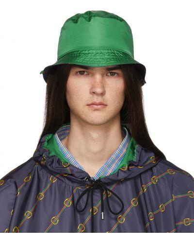 Zielony kapelusz z nylonu Gucci