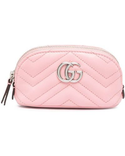 Skórzany różowy etui na klucze Gucci