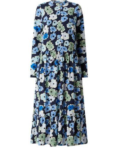 Niebieska sukienka midi rozkloszowana z wiskozy Montego