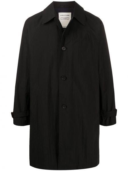 Черное однобортное длинное пальто с воротником на молнии A Kind Of Guise