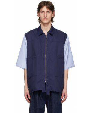 Серебряная рубашка с короткими рукавами с воротником с заплатками с манжетами Camiel Fortgens
