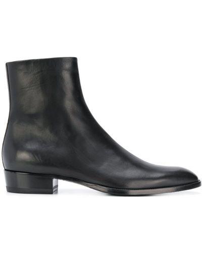 Ботильоны черный кожаный Saint Laurent