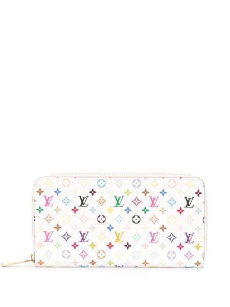 Белый кожаный кошелек на молнии Louis Vuitton