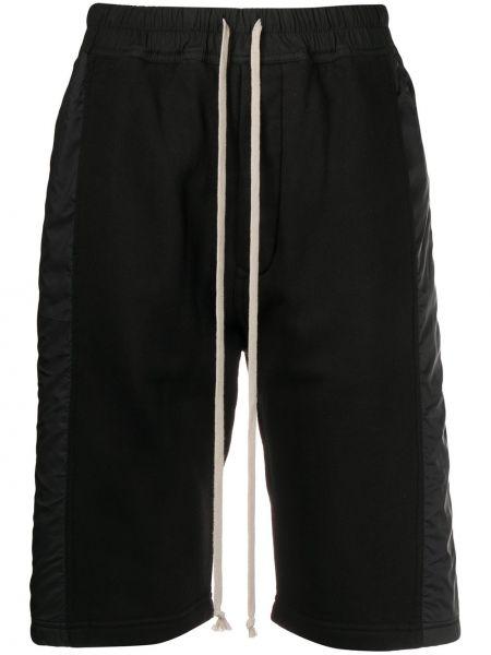 Хлопковые черные шорты эластичные на шнурках Rick Owens Drkshdw