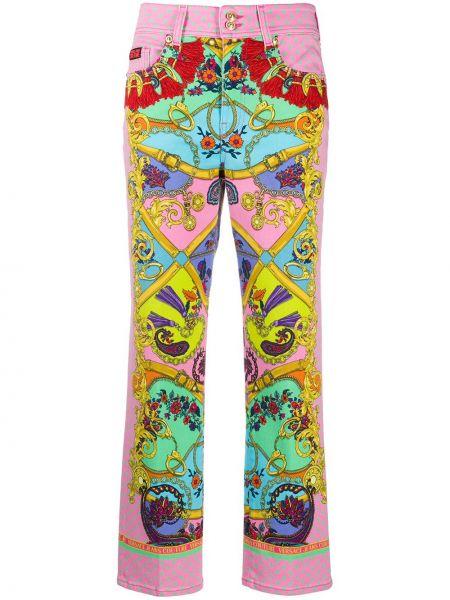 Хлопковые розовые укороченные брюки с карманами Versace Jeans Couture