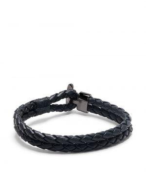 Черный плетеный кожаный браслет Boss