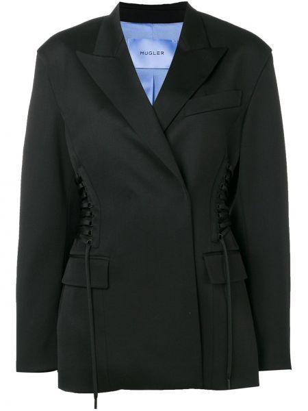 Черный приталенный пиджак с карманами Mugler