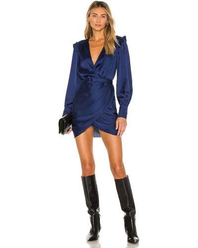 Niebieski sukienka mini z mankietami na pięcie zapinane na guziki L'academie