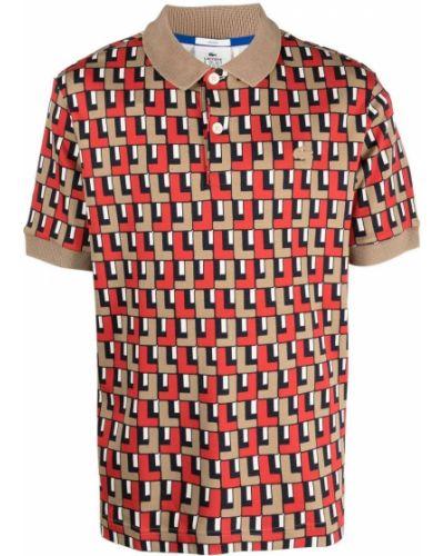 Beżowa koszula bawełniana krótki rękaw Lacoste Live