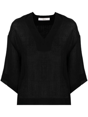 Прямая черная блузка с V-образным вырезом Tela