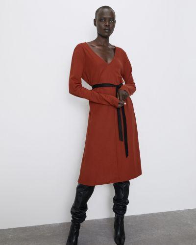 Платье с V-образным вырезом - коричневое Zara