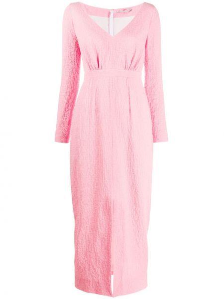 Приталенное розовое платье макси с V-образным вырезом на молнии Emilia Wickstead