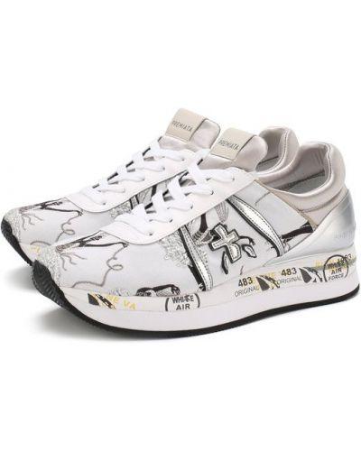 Белые кроссовки с вышивкой Premiata