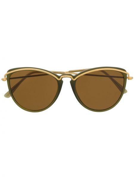 Зеленые прямые муслиновые солнцезащитные очки круглые Persol Pre-owned