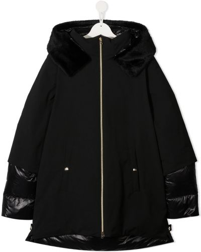 Классическое черное пальто с капюшоном на молнии со вставками Herno Kids