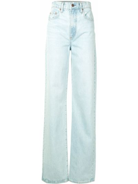 Хлопковые синие прямые джинсы с поясом на молнии Nobody Denim