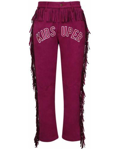 Fioletowe spodnie z wysokim stanem z haftem Kidsuper Studios