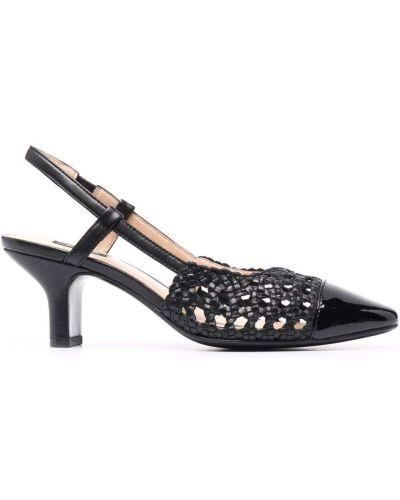 Sandały skórzane na obcasie - czarne Pinko