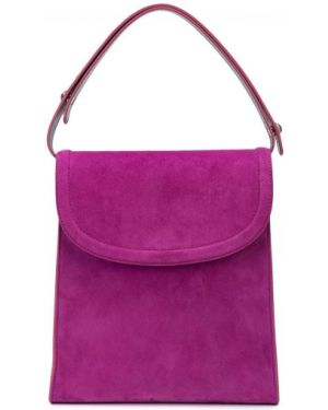 Кожаная фиолетовая кожаная сумка круглая с карманами Edie Parker