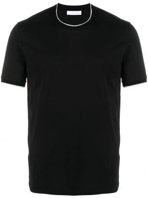Czarny t-shirt bawełniany krótki rękaw Cruciani