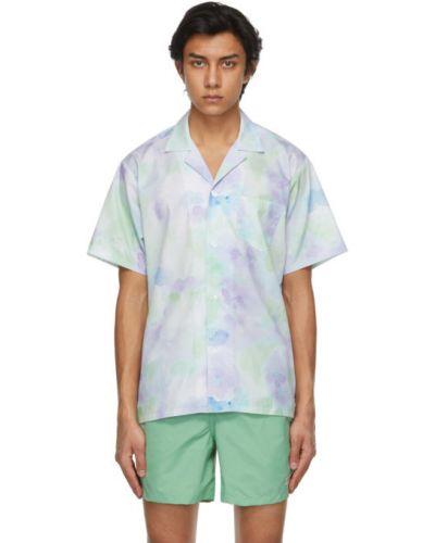 Zielona koszula krótki rękaw bawełniana Bather