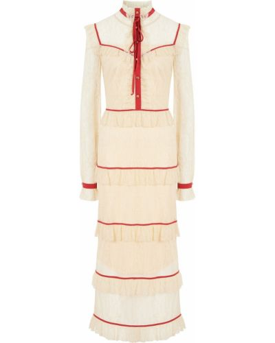 Бежевое платье миди из вискозы с декоративной отделкой Laroom