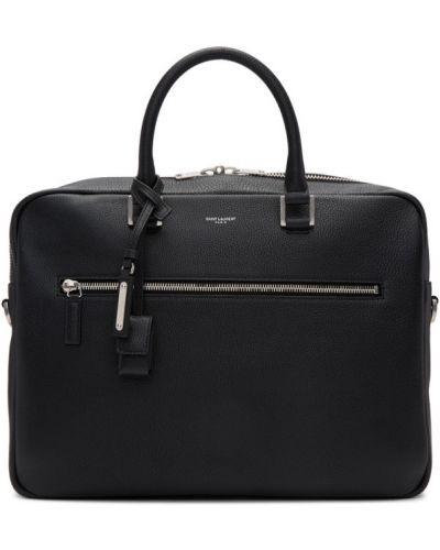 Черный портфель с карманами с заплатками Saint Laurent