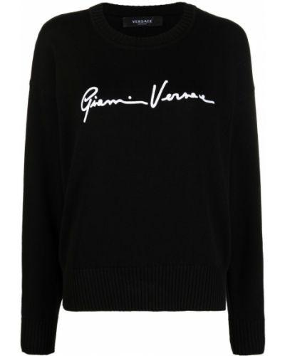 Trykotowy z rękawami biały sweter z okrągłym dekoltem Versace