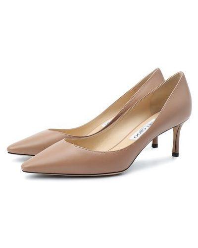 Мягкие кожаные розовые туфли на шпильке Jimmy Choo