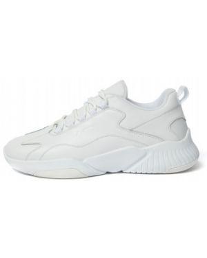 Белые кожаные спортивные кроссовки на шнуровке Demix