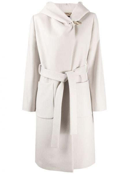 С рукавами шерстяное пальто классическое с запахом с капюшоном Fay