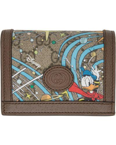 Czarny skórzany portfel na monety prążkowany z gniazdem Gucci