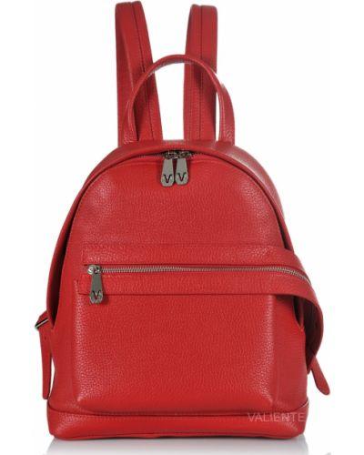Кожаный рюкзак - красный Valiente