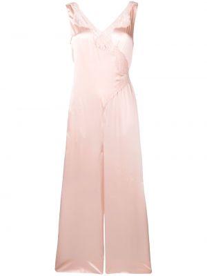 Шелковый розовый кружевной комбинезон Stella Mccartney