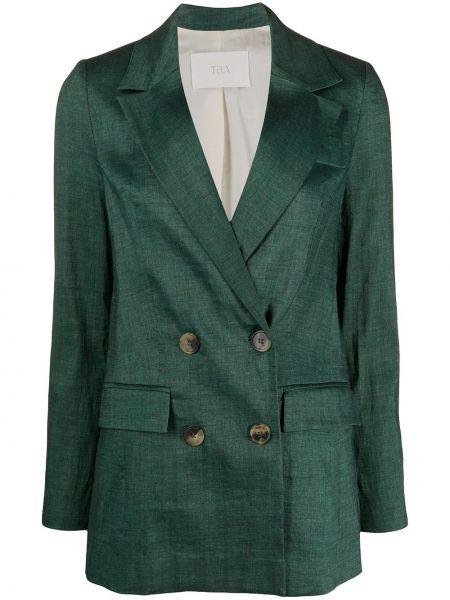 Зеленый пиджак двубортный с карманами Tela